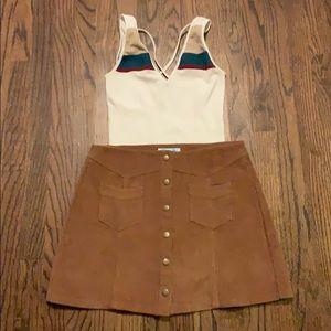 Corduroy Button Down Mini Skirt Sz M